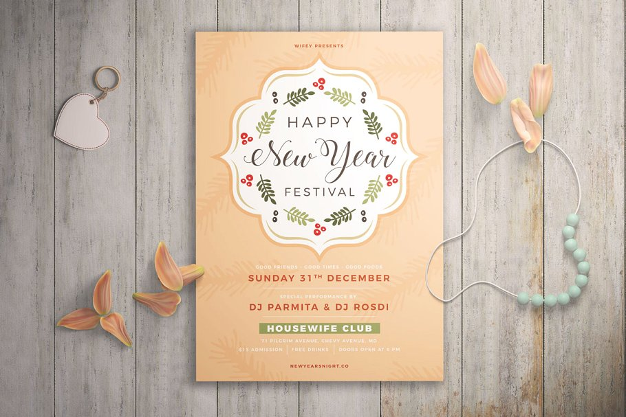 elegant new year festival flyer template