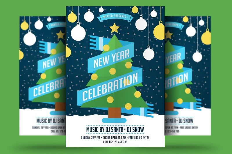 flat new year a4 flyer template