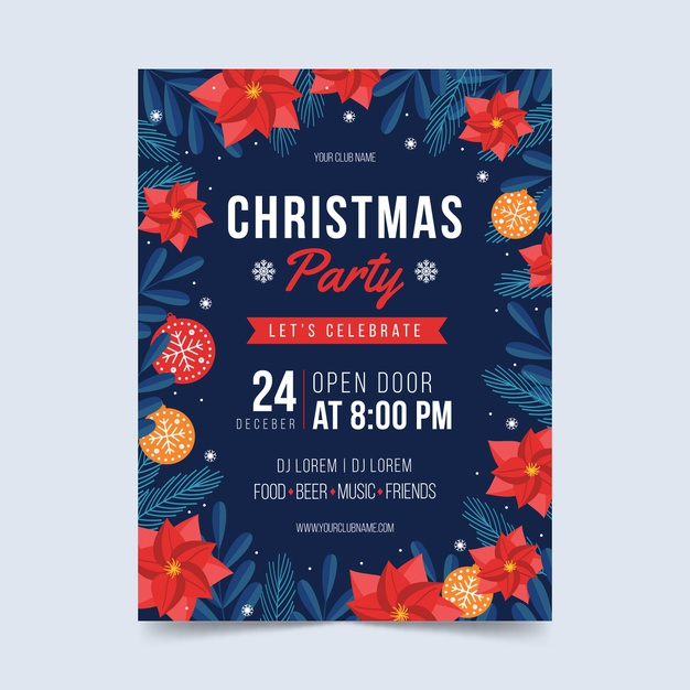 free christmas party flyer template flat design