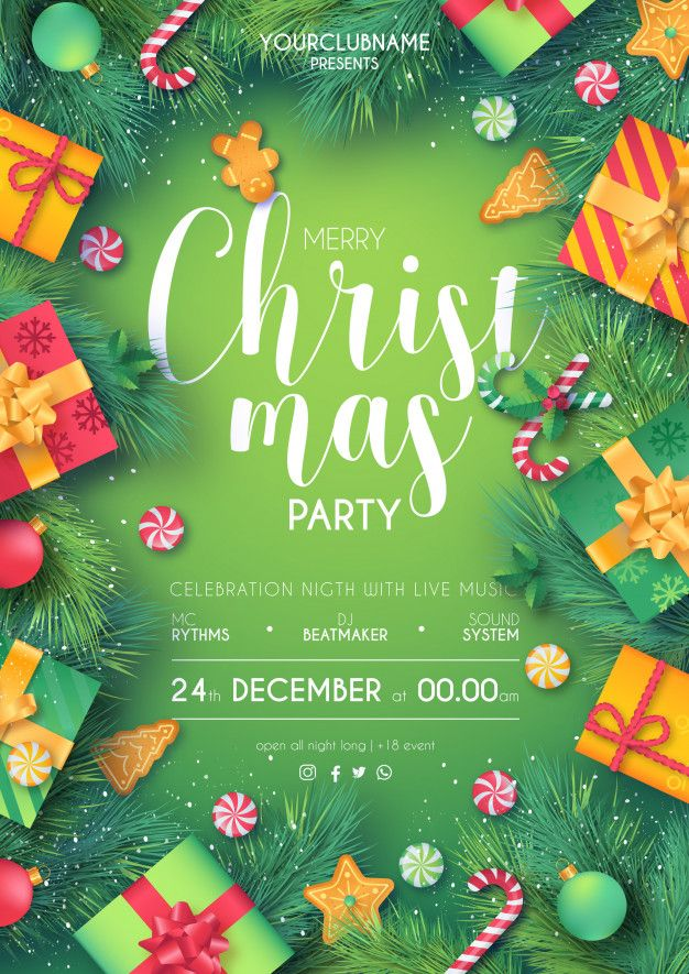 free green red christmas party poster printable