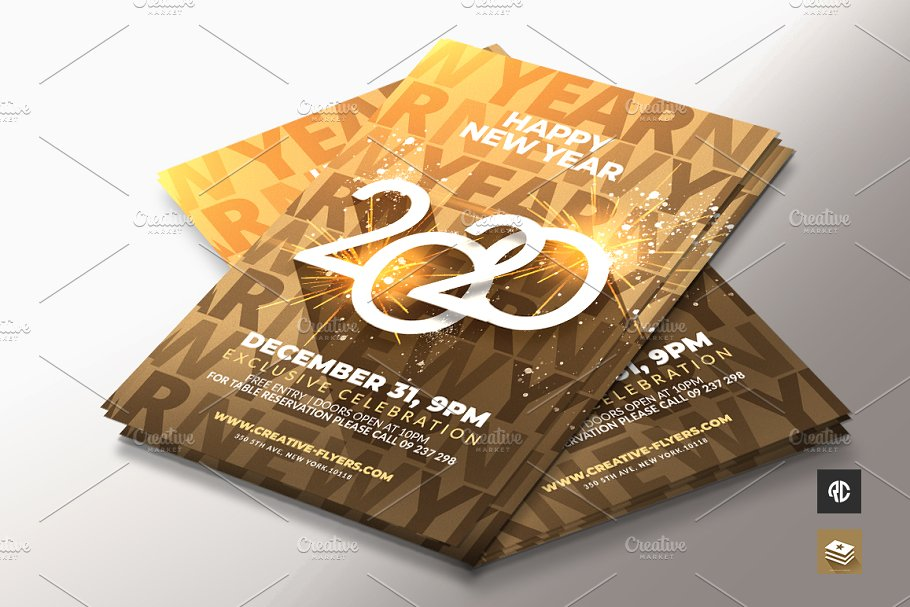 gold new year flyer template psd
