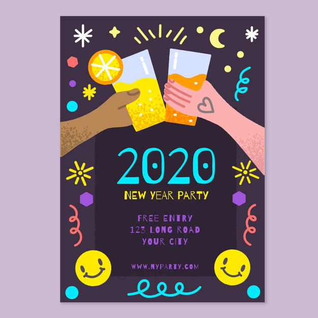 hand drawn new year flyer free