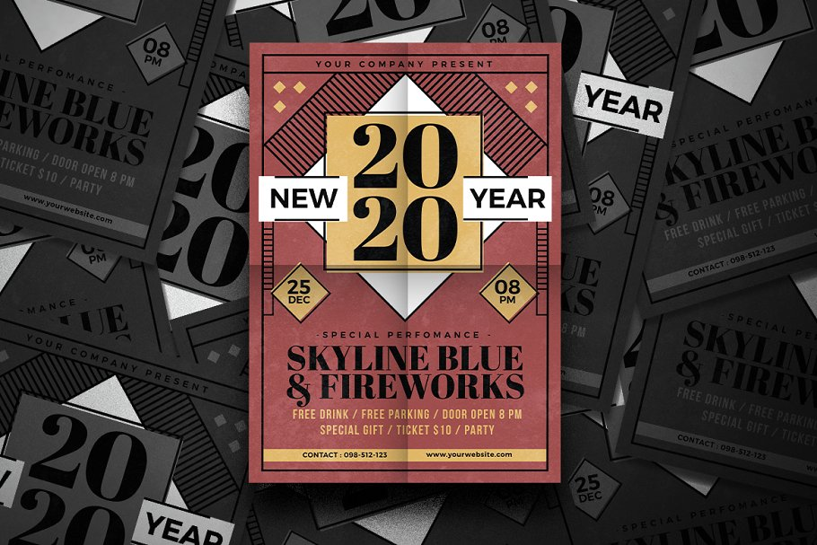 new year flyer design template