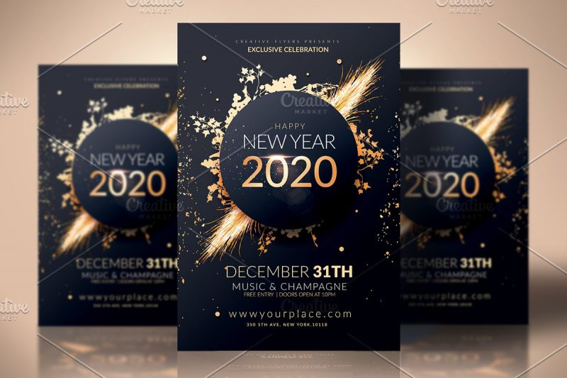 new year flyer invitation psd template