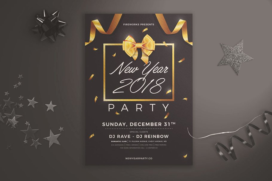 new year party flyer bow ribbons