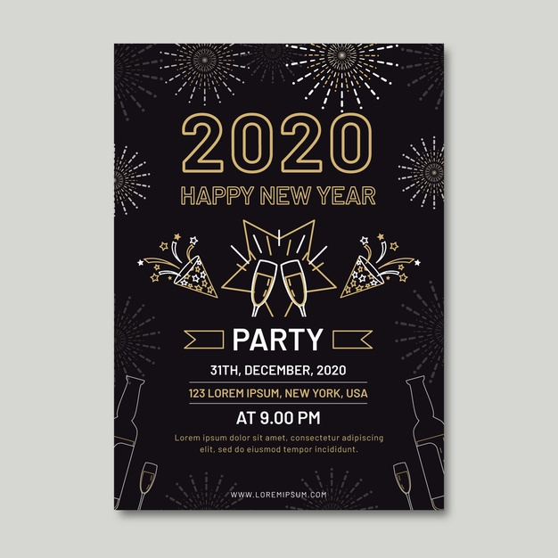 outline new year party flyer free template