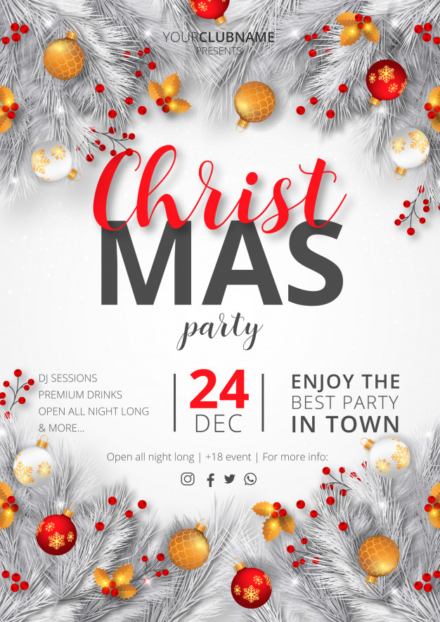 realistic christmas party flyer free template