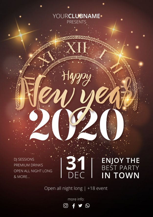 realistic happy new year flyer vector free