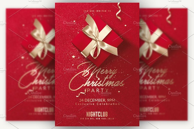 red gold christmas invitation