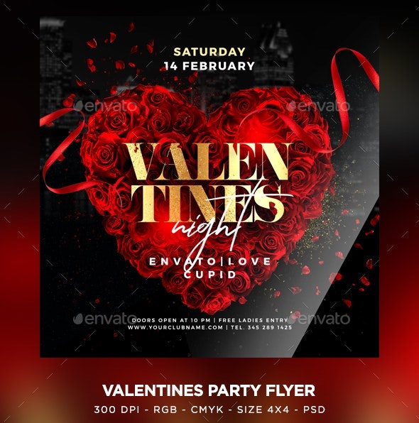 classy valentines party flyer psd template