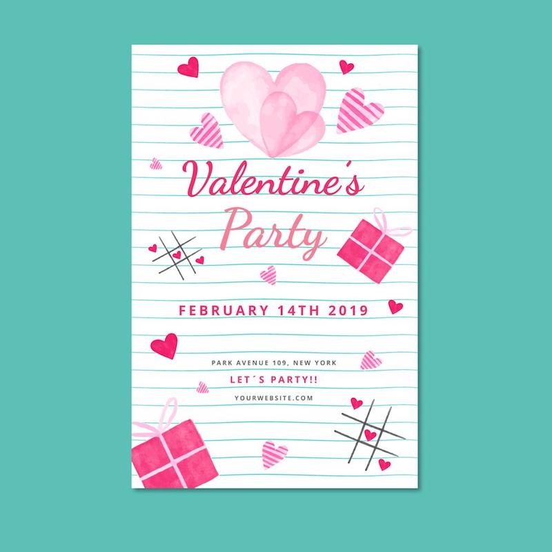 cute valentine poster template sheet hearts free vector