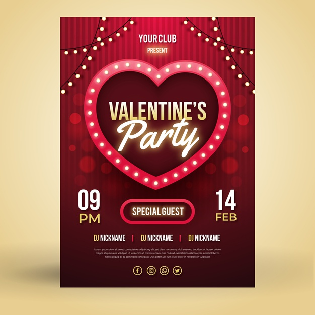 flat valentine party flyer vector free