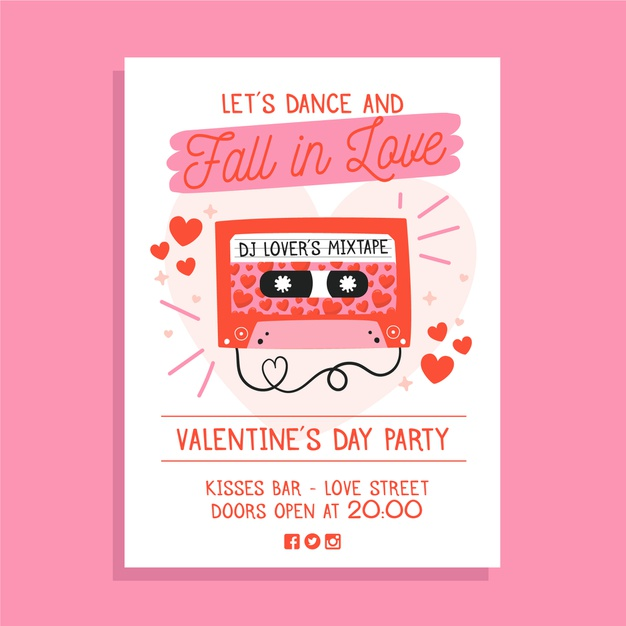 free hand drawn valentine day party poster template