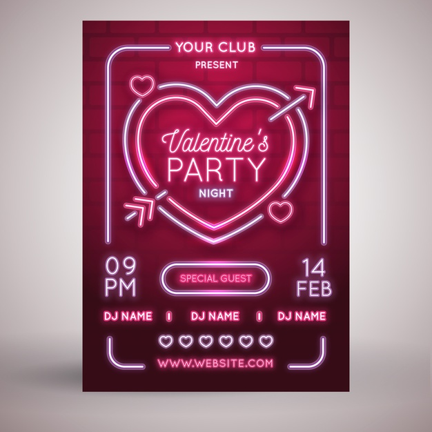 free valentine party flyer template neon