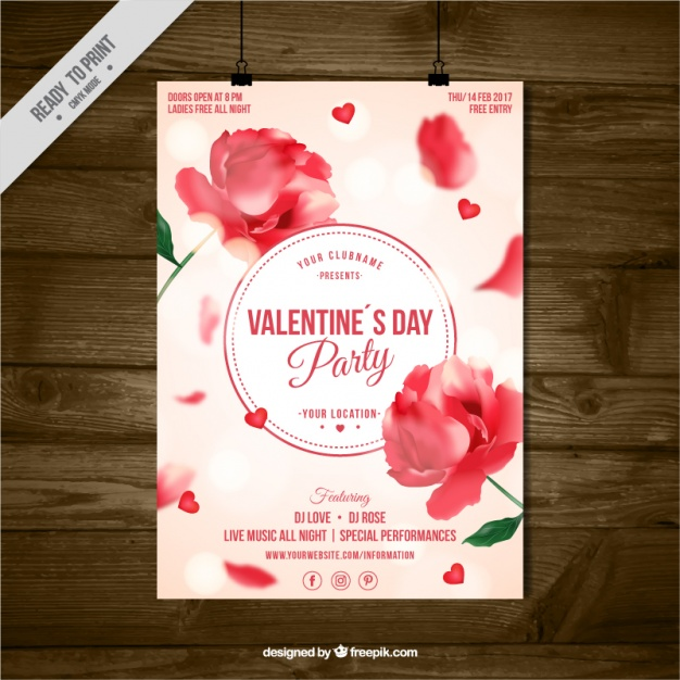 free valentines day leaflet with floral decoration