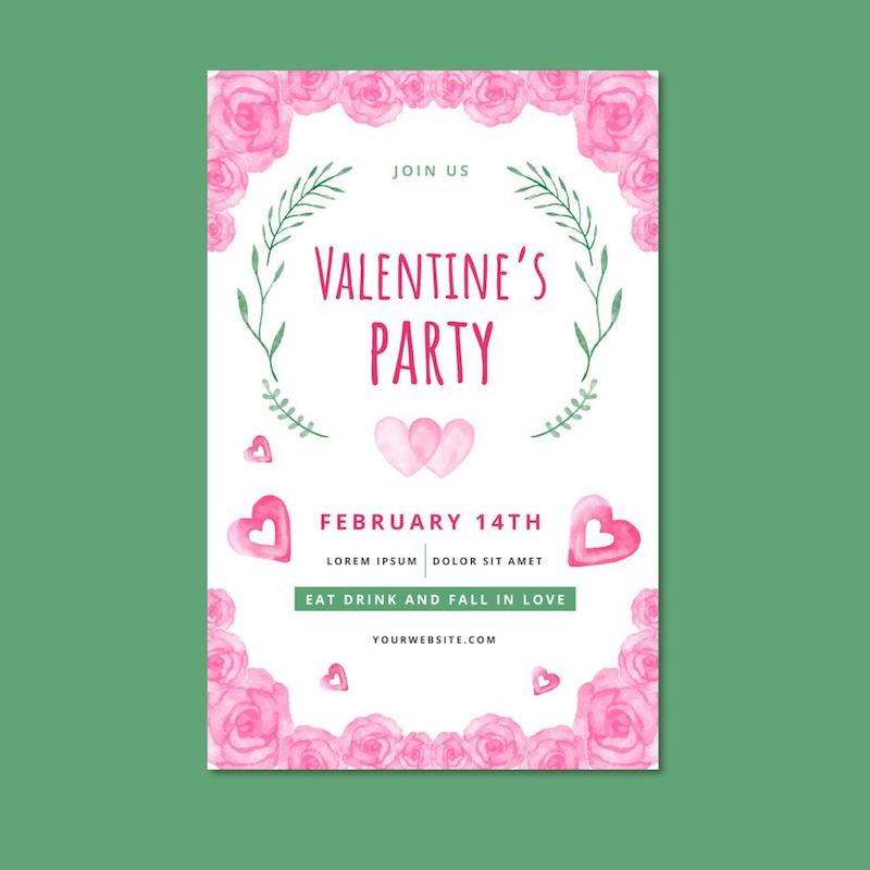 free valentines flyer vector watercolor roses hearts