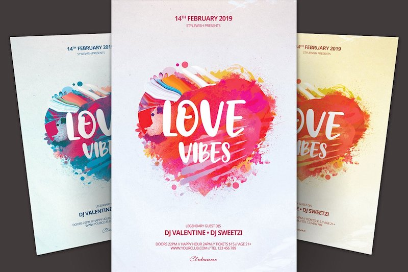 love vibes flyer psd template