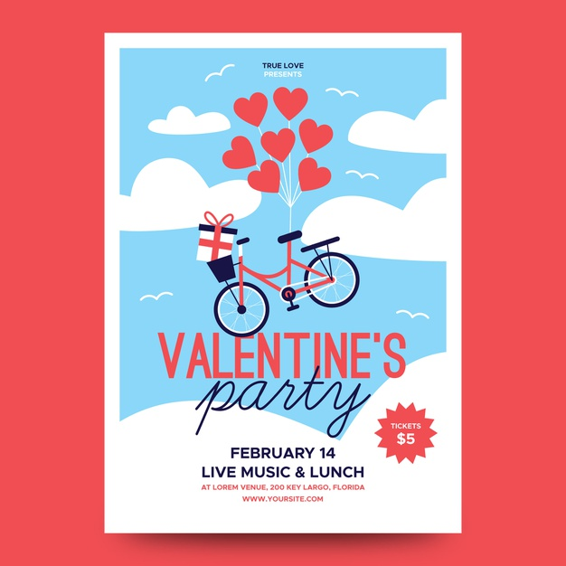 lovely valentine party poster heart balloons bicycle