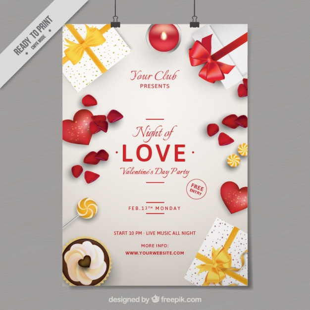 night love party poster gifts hearts