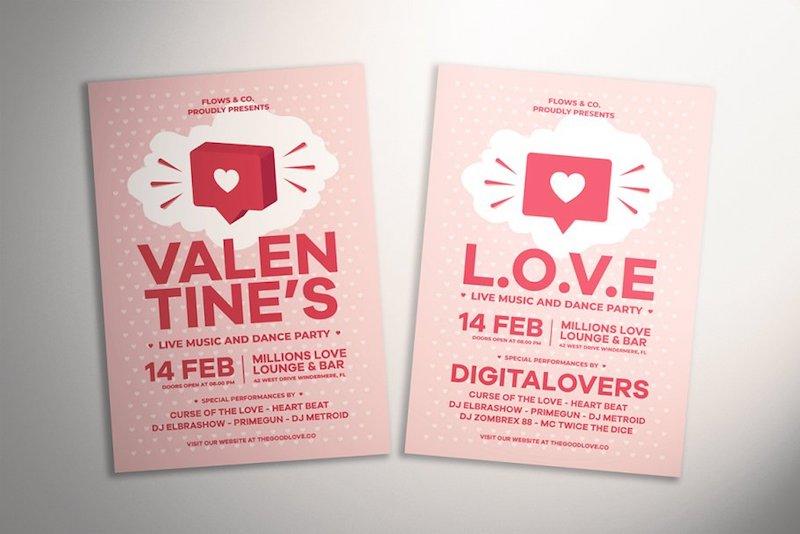 pink a4 valentine day flyer