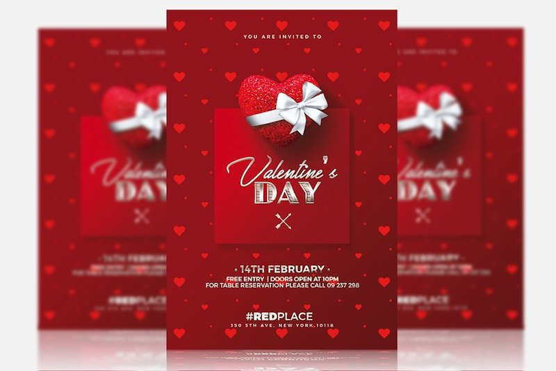 red valentine day party psd invitation