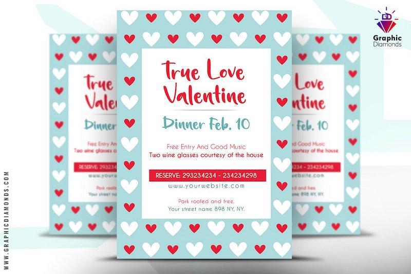 valentine dinner flyer psd template