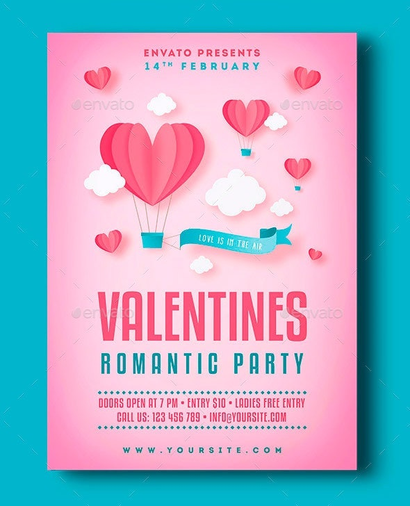valentines romantic party a4 flyer template