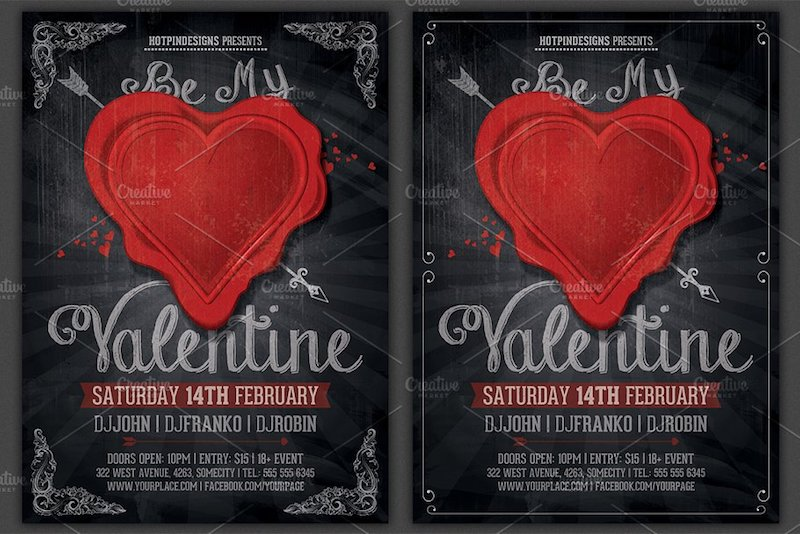 vintage valentine party flyer template