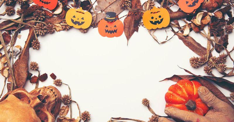 Pumpkin and Skull on
