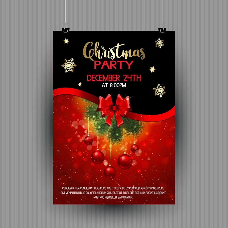 red black christmas party flyer design