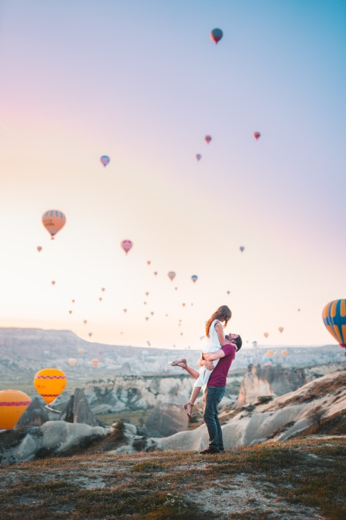 couple hot air ballons