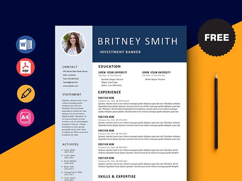 5 FREE Clean Resume Template