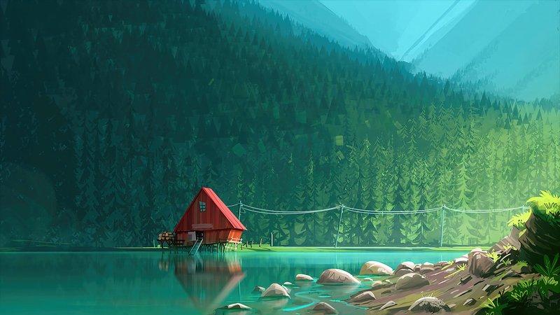 4 3840x2160 Forest Lake Minimalism